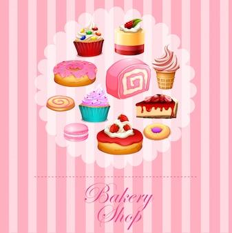 Разные виды десертов в розовом
