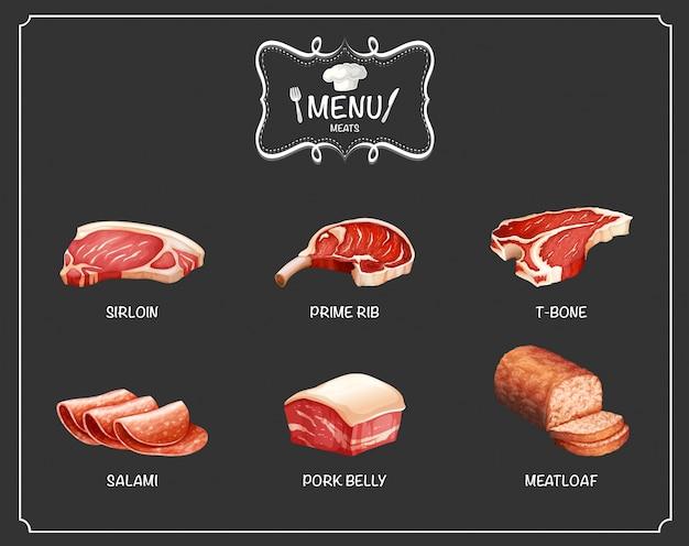 메뉴에 다른 종류의 고기