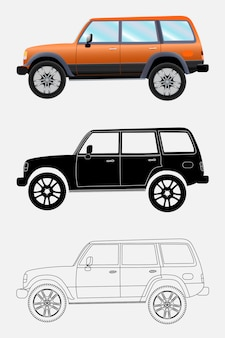 Different kind off-road vehicle on a white background: colored,