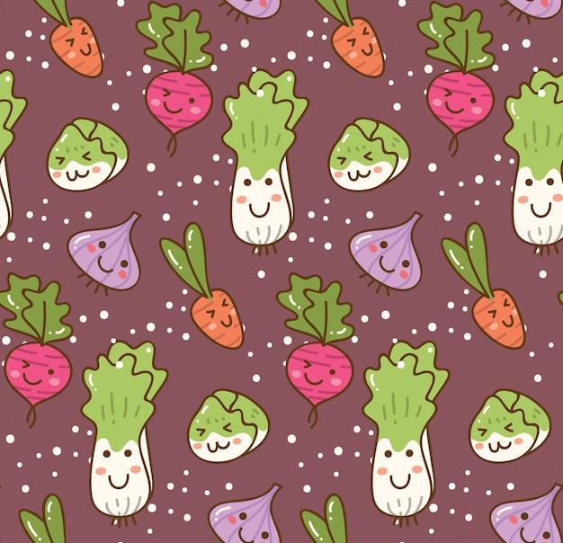 Different kind of vegetable kawaii background