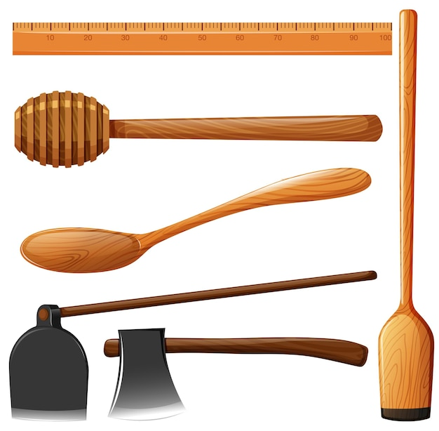 Diversi tipi di attrezzatura in legno