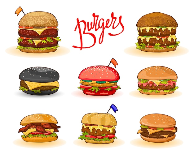Different kinds of burgers with lettering