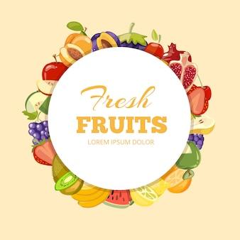 Different kinds of fruits vector background. badge fresh fruits organic illustration
