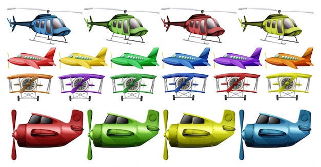 Different kinds of helicopter and planes illustration