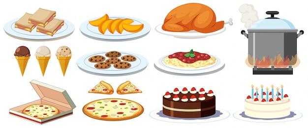 Различные виды блюд на тарелках