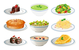 Different kinds of food on white plates illustration