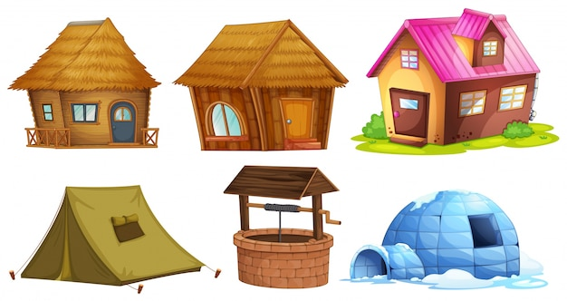 Different kinds of shelters illustration
