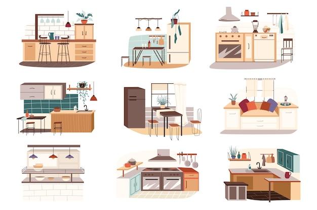 さまざまなキッチンの孤立したシーンが設定されています