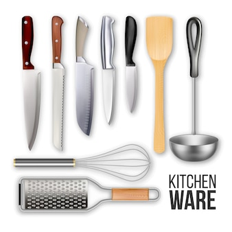 Different knives and cook kitchen ware set