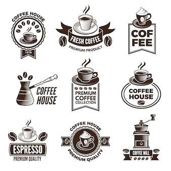 Different labels set for coffee house. pictures of cups of coffee and caffeine beans