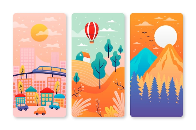 Different landscape illustration collection