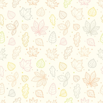 Different leaves silhouettes autumn seamless pattern