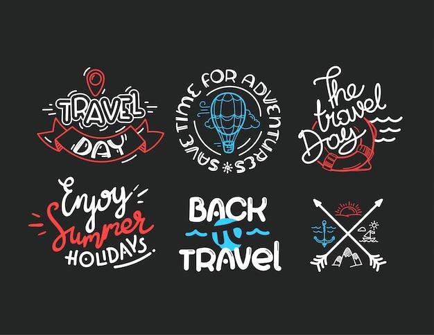 Различные надписи логотипы на темном фоне travel logo
