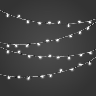 Different lighting garland vector set on dark background. christmas lights  vector collection. glowing lamps vect or set