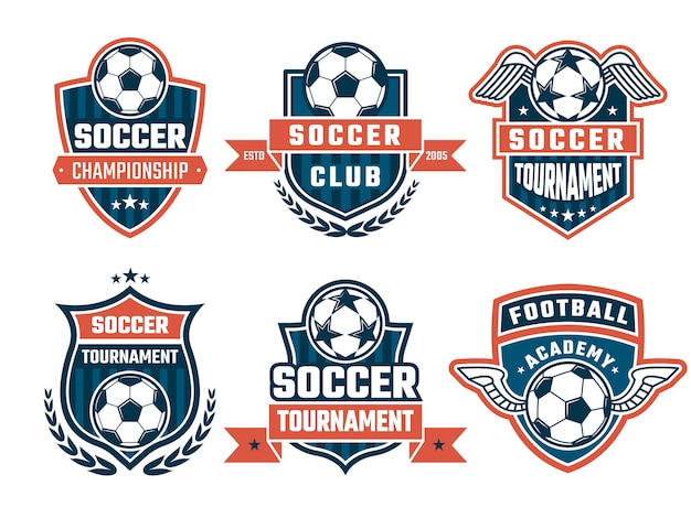 Different logos for football club or labels set