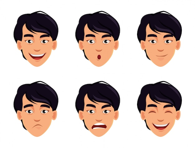 Different male emotions set.