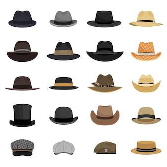 別の男性の帽子。ファッションとヴィンテージの男の帽子コレクションのベクトル画像