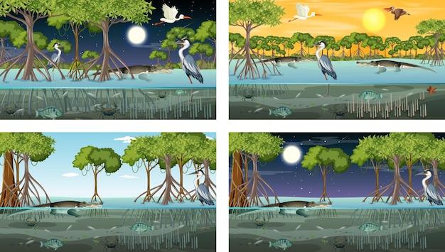 동물과 다른 맹그로브 숲 풍경 장면