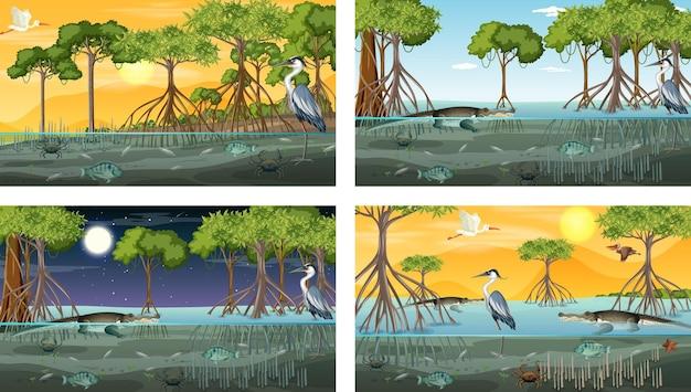 다양한 동물과 함께 다른 맹그로브 숲 풍경 장면