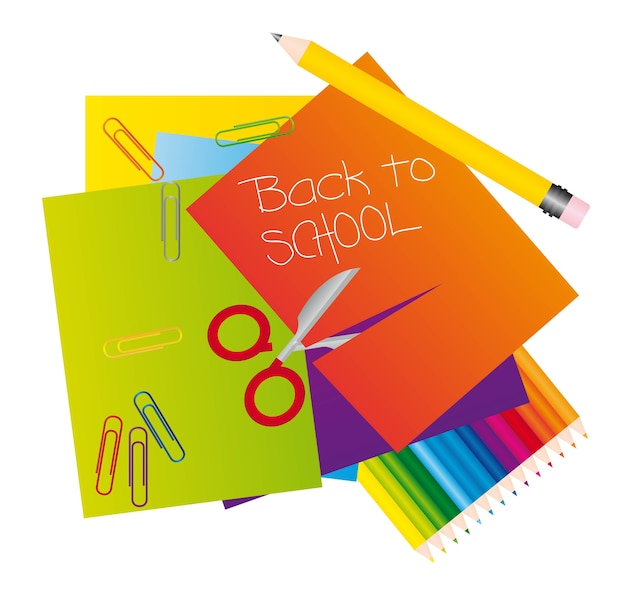 Different materials to return to school vector illustrator