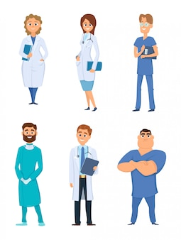 Different medical personal cartoon characters