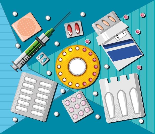 Коллекция различных лекарств для здоровья