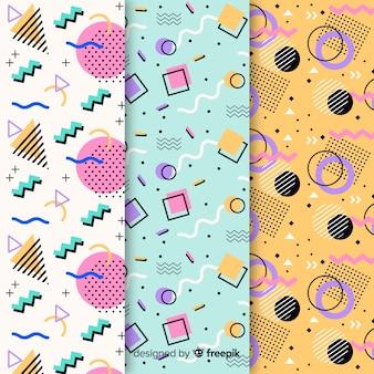 Different memphis patterns set