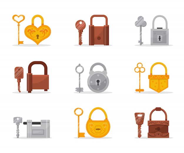 Different metallic locks and keys  illustrations set, modern and classic retro door accessories cliparts pack, padlock safety and security, house protection  collection