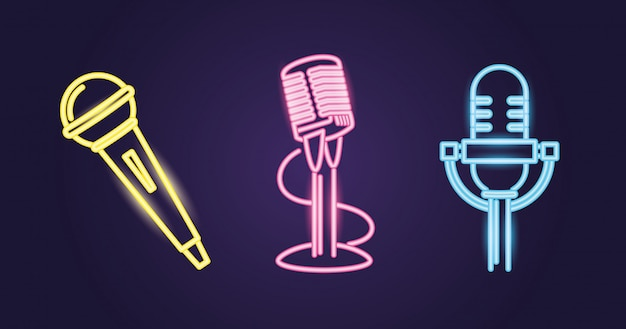Different microphone styles, neon colored path