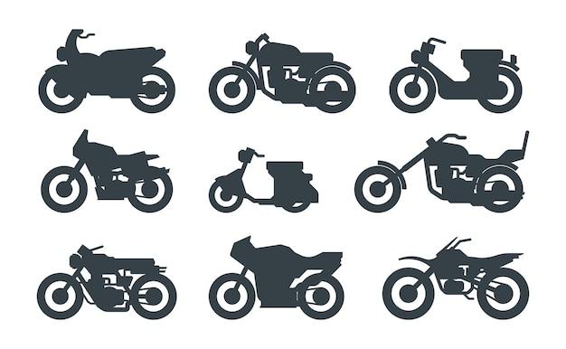 다른 동력 차량 블랙 세트. 로드스터, 헬기, 스쿠터. 현대적인 거리 자전거. 스크램블러, 스포츠 바이크, 크루저. 오토바이 실루엣 흰색 절연