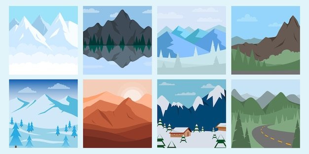 다른 산 풍경 그림을 설정합니다. 산과 숲 언덕과 나무 일러스트와 함께.