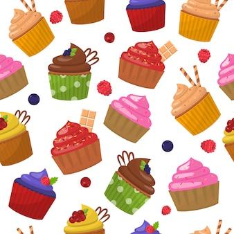 Different muffins organic dessert seamless patter
