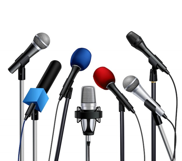 Different muiltcolored press conference microphones