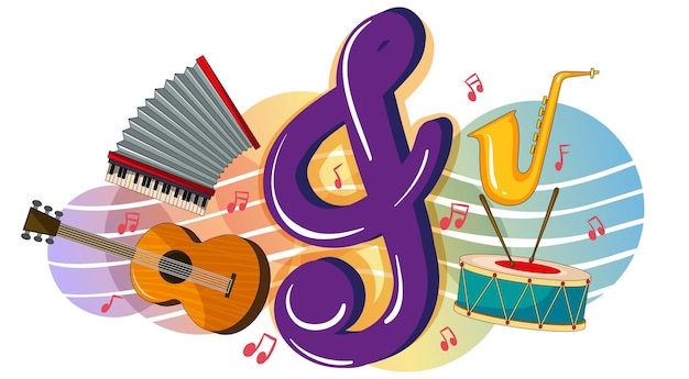 Different musical instruments on poster