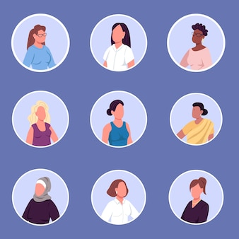 さまざまな国籍の女性フラットカラー顔のない文字アイコンセット