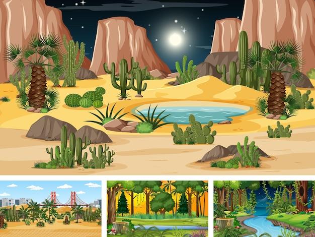 Diverse scene di natura orizzontale in stile cartone animato