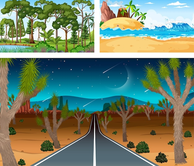 Different nature horizontal scenes in cartoon style