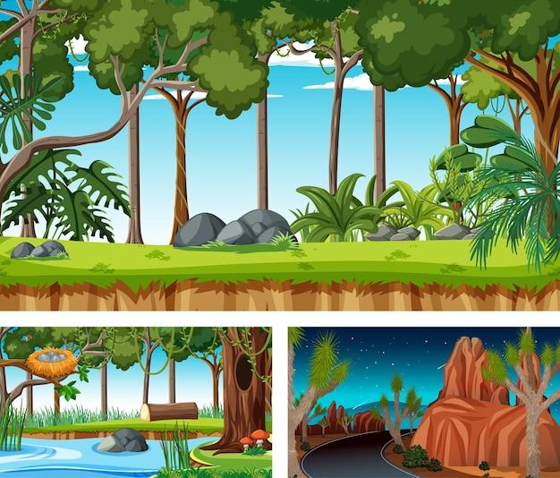 Горизонтальные сцены различной природы в мультяшном стиле Бесплатные векторы