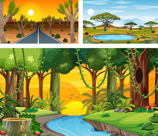 漫画スタイルのさまざまな自然の水平方向のシーン