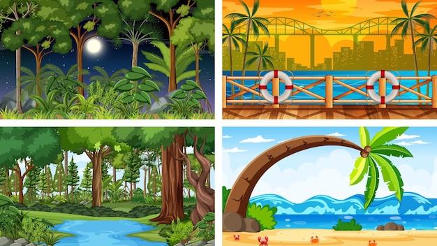 Different nature horizontal scenes