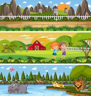 漫画のキャラクターと昼間のシーンで異なる自然の風景