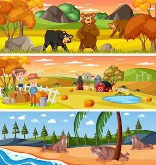 Различный природный пейзаж в дневное время с мультипликационным персонажем