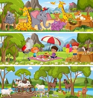 만화 캐릭터와 함께 낮 장면에서 다른 자연 풍경