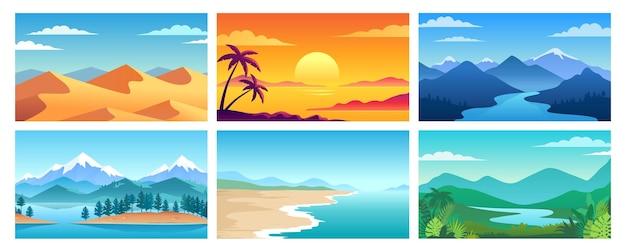 別の自然風景カラフルなベクトルイラストセット