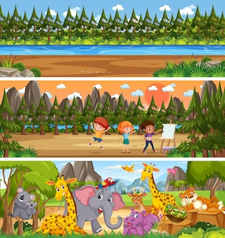 Different nature landscape at daytime scene with cartoon character