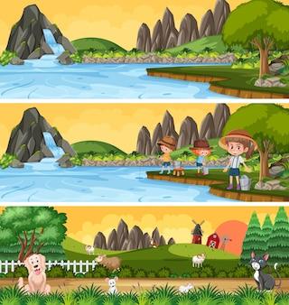 만화 캐릭터로 설정된 다른 자연 풍경 장면