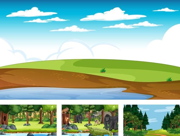 Diverse scene della natura della foresta e della foresta pluviale con animali selvatici