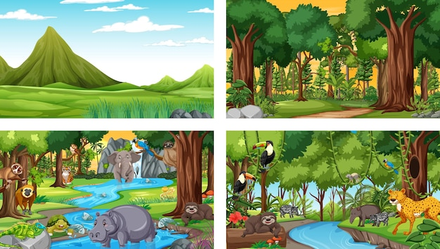 Different nature scenes of forest and rainforest with wild animals