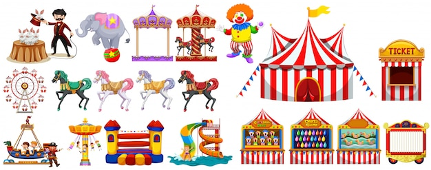 Different objects from the circus