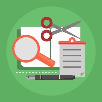 Diversi oggetti su uno sfondo verde